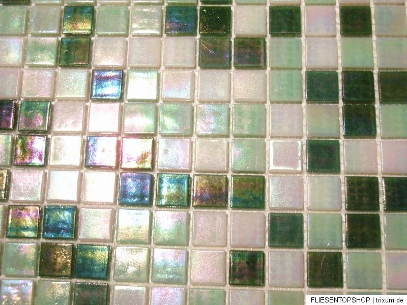 Glasmosaik Fliesen Mosaik PERLMUTTEFFEKT weiss, grün ...