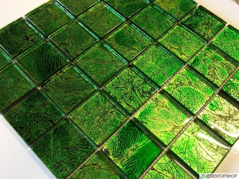 glasmosaik mosaik klarglas gr n intensiv metall effekt bad dusche fliese top ebay. Black Bedroom Furniture Sets. Home Design Ideas