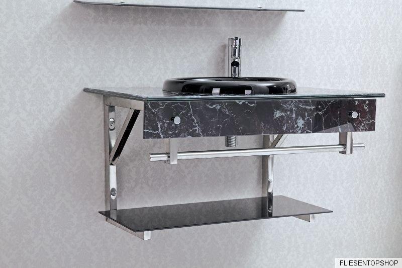 waschtisch regal glas waschbecken schwarz wei wt3043 spiegel design bad ablage ebay. Black Bedroom Furniture Sets. Home Design Ideas