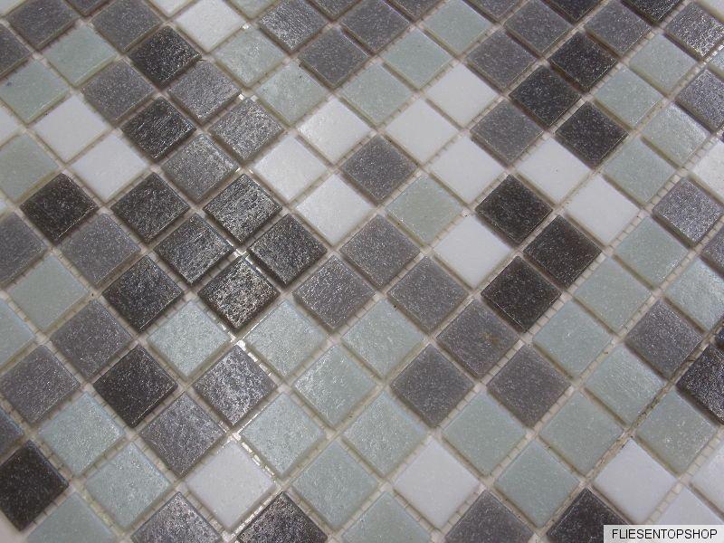 glasmosaik fliesen pool dusche glas mosaik gr n grau dunkelgrau weis wand boden ebay. Black Bedroom Furniture Sets. Home Design Ideas