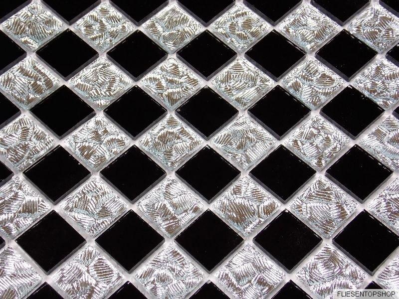 glasmosaik mosaik fliesen klarglas spiegel chrom silber. Black Bedroom Furniture Sets. Home Design Ideas