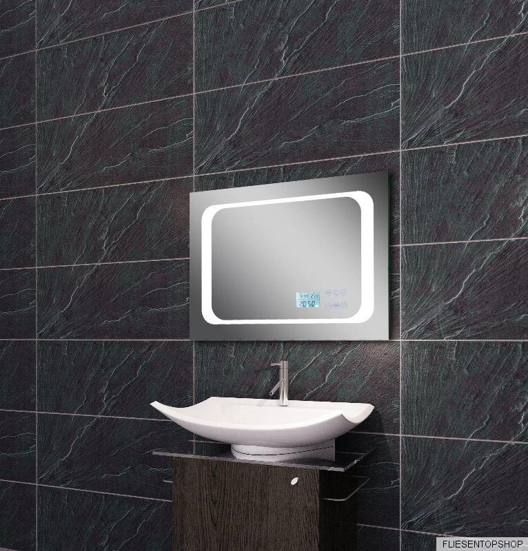 licht spiegel led beleuchtung uhr radio mp3 und touch schalter 70x50cm ltm7050 ebay. Black Bedroom Furniture Sets. Home Design Ideas