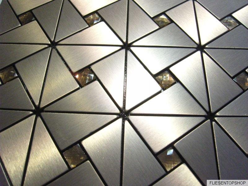 effekt mosaik fliesen aluminium glas diamant metall braun matt selbstklebend ebay. Black Bedroom Furniture Sets. Home Design Ideas