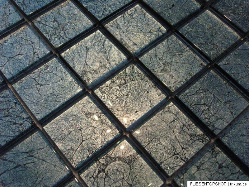 Glasmosaik mosaik fliesen klarglas metall fx15 gr n ebay - Mosaik fliesen grun ...