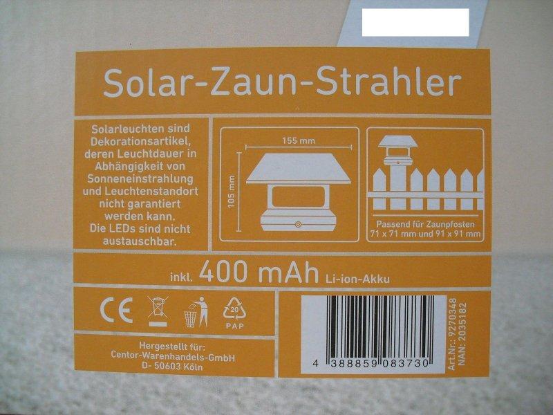 solar zaun strahler led aus schwarzem kunststoff zaunpfosten solarleuchte ebay. Black Bedroom Furniture Sets. Home Design Ideas