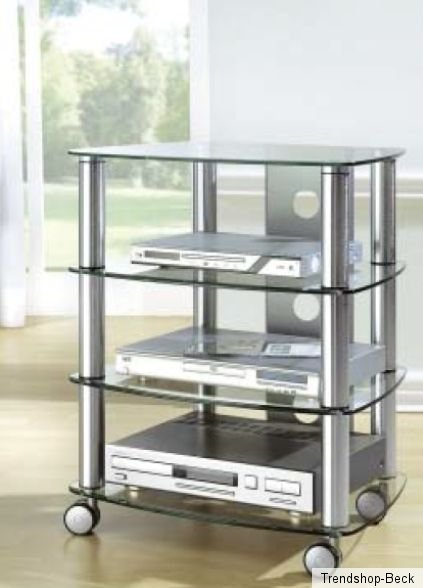 hifi rack mit rollen tv phonowagen glas metall regal fernsehtisch rollbar chrom ebay. Black Bedroom Furniture Sets. Home Design Ideas