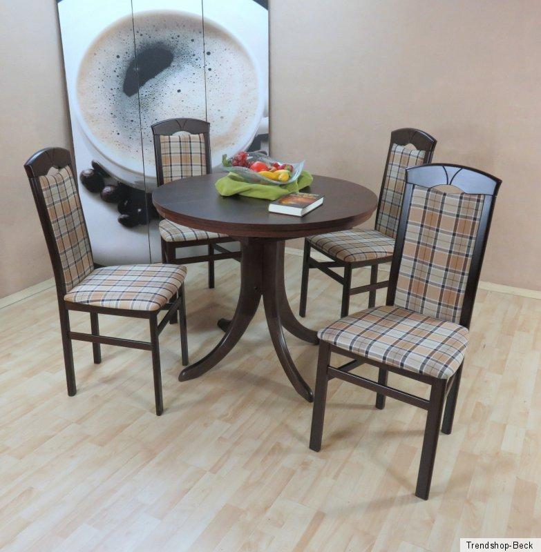 essgruppe 5 tlg auszugtisch rund st hle esstisch farbe nuss dunkel beige braun ebay. Black Bedroom Furniture Sets. Home Design Ideas