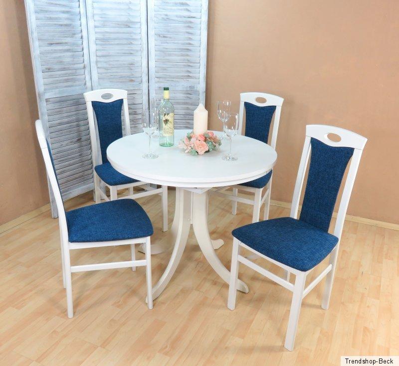 essgruppe 5 tlg auszugtisch rund st hle esstisch tisch farbe wei azurblau ebay. Black Bedroom Furniture Sets. Home Design Ideas