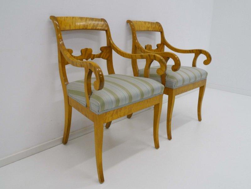 2 biedermeier armlehnen st hle sessel birke um 1900. Black Bedroom Furniture Sets. Home Design Ideas