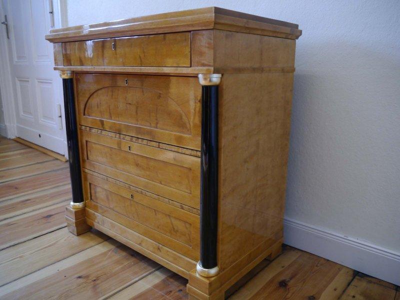 biedermeier kommode birke mit s ulen um 1890 ebay. Black Bedroom Furniture Sets. Home Design Ideas