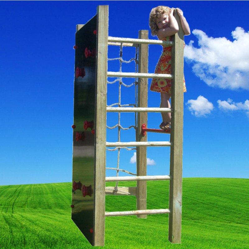 kleiner kletterturm mit kletternetz turnreck kletterwand leiter spielturm neu ebay. Black Bedroom Furniture Sets. Home Design Ideas