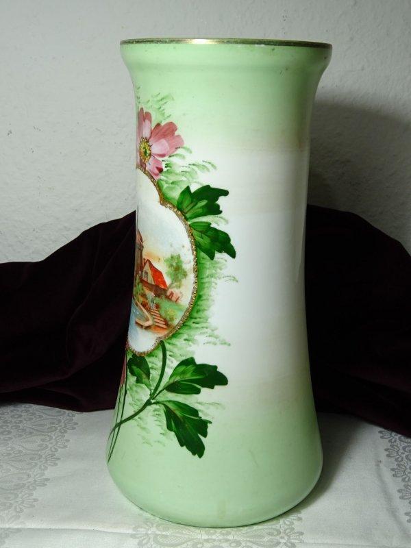 gro e glasvase vase jugendstil handgemalt ebay. Black Bedroom Furniture Sets. Home Design Ideas