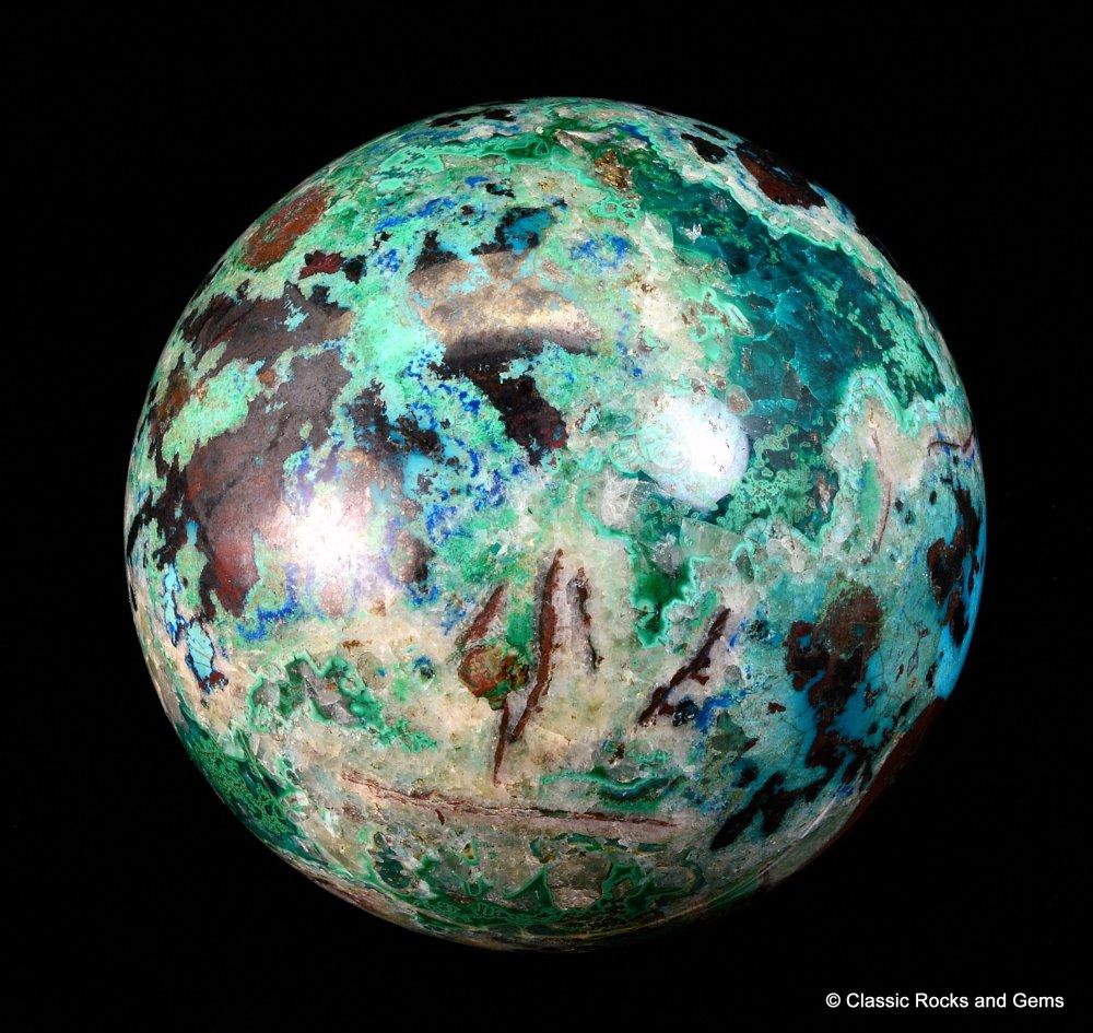 Shattuckite Gemstone Sphere Dioptase Chrysocolla Malachite
