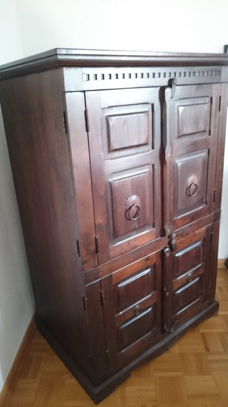 tv schrank fernsehschrank akazie kolonialstil massiv ebay. Black Bedroom Furniture Sets. Home Design Ideas