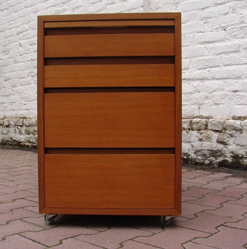 container rollcontainer schreibtisch b ro holz nu baum vintage 60er jahre ebay. Black Bedroom Furniture Sets. Home Design Ideas