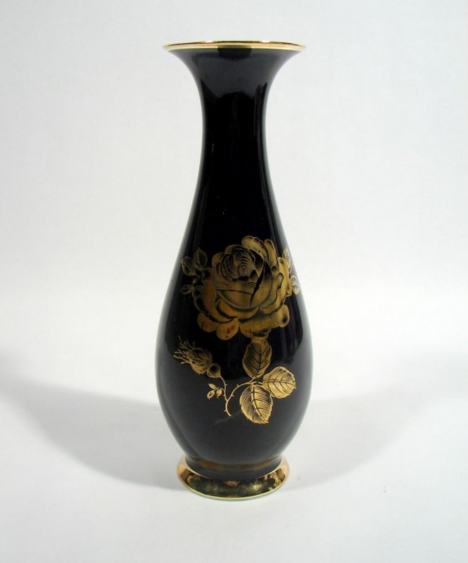 royal porzellan krister bavaria kpm vase echt cobalt rose goldrand ebay. Black Bedroom Furniture Sets. Home Design Ideas