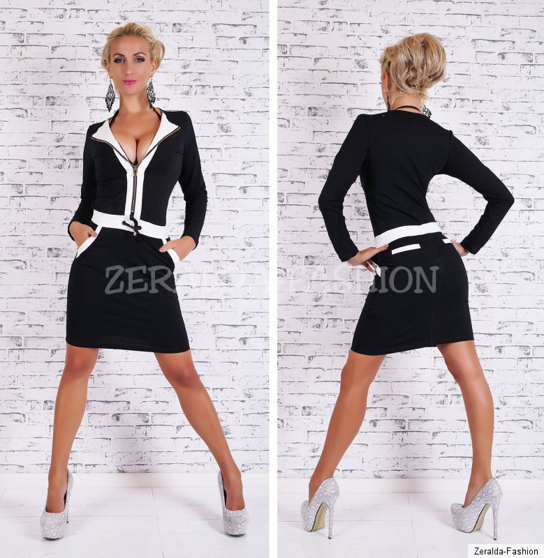 hot sexy elegantes kleid sportlich chic business look s m l xl ebay. Black Bedroom Furniture Sets. Home Design Ideas