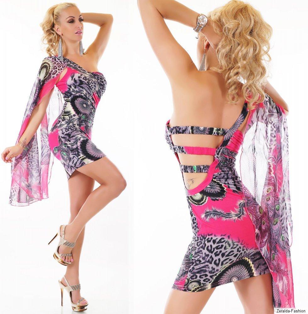 sexy one shoulder mini kleid pfau leo design dress summer. Black Bedroom Furniture Sets. Home Design Ideas