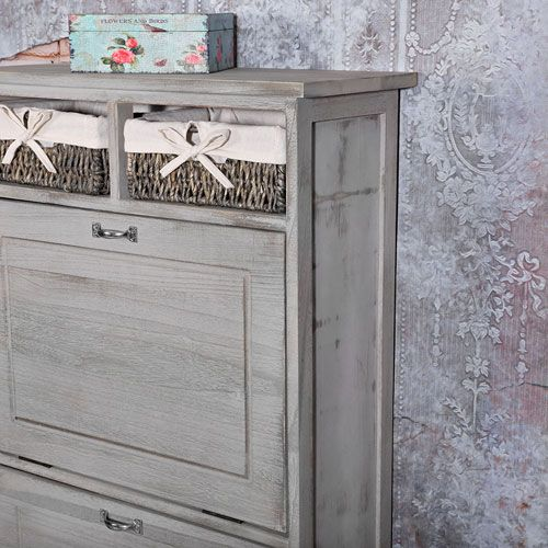 schuhschrank vintage schuhkommode mit 2 k rben shabby grau. Black Bedroom Furniture Sets. Home Design Ideas