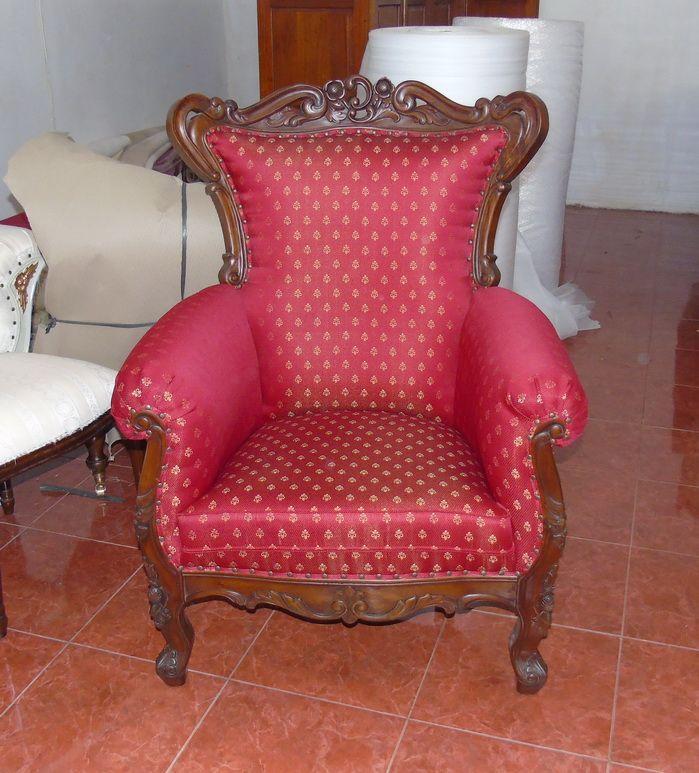 wundersch ner prunk sessel mahagoni barock brown walnuss bezug textil seddiner see. Black Bedroom Furniture Sets. Home Design Ideas