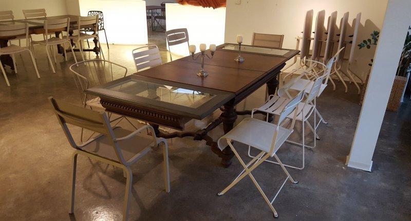 Antiker esstisch ausziehbar 234cm 500cm nussbaum 2 for Esstisch mit glaseinlage