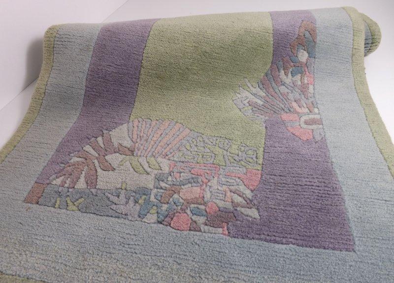 Teppich Webteppich 140×73 Pastellfarben Blau Altrosa