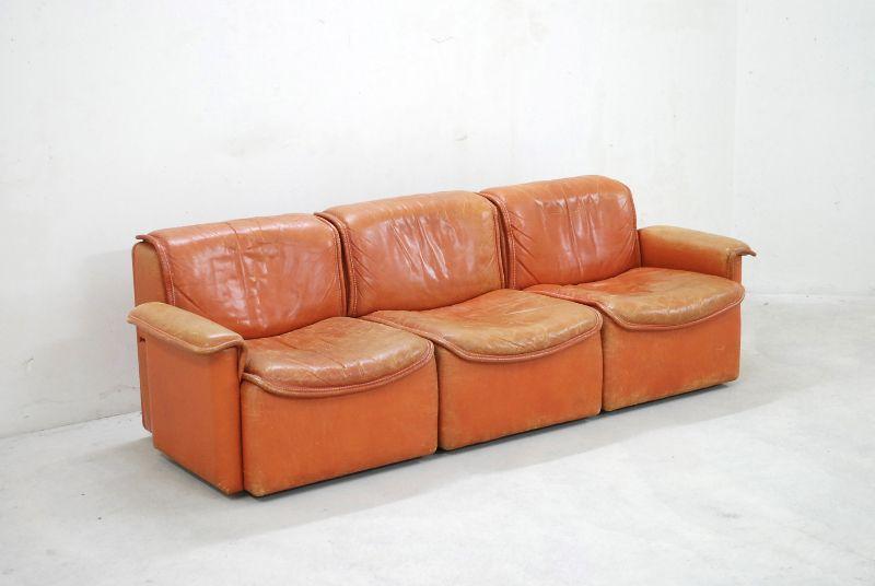 De sede ds 12 sofa vintage modular wohnlandschaft cognac for Sofa 60er gebraucht