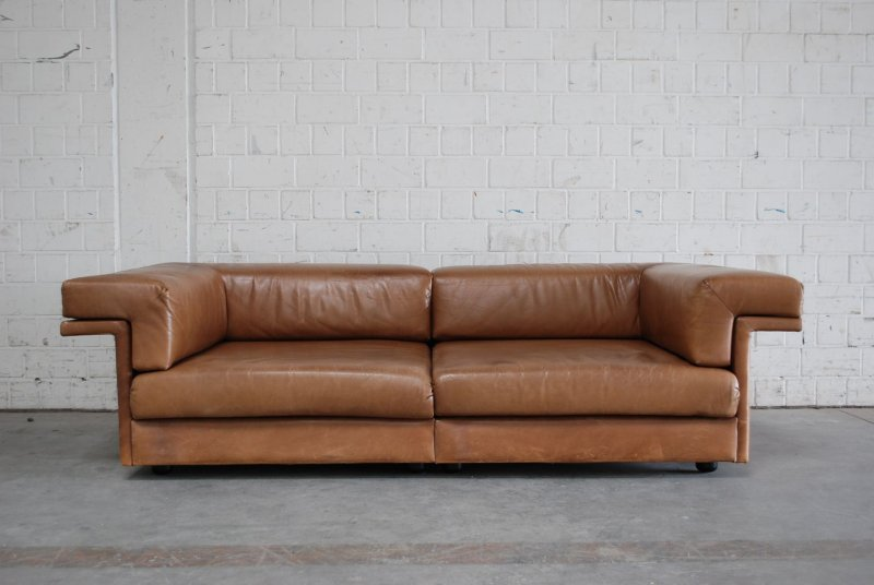 wk wohnen vintage cognac brown 3er 2er hocker sofa. Black Bedroom Furniture Sets. Home Design Ideas