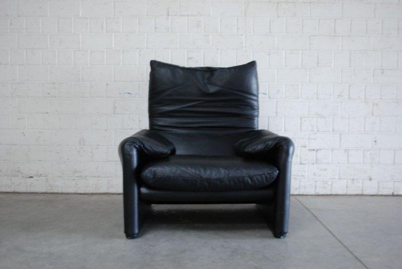 Cassina maralunga ledersessel sessel schwarz np 4962 eur for Ledersessel schwarz design