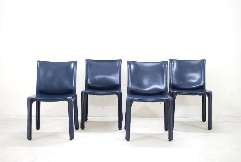 cassina cab 412 blue mario bellini cab chair 4x st hle stuhl ebay. Black Bedroom Furniture Sets. Home Design Ideas