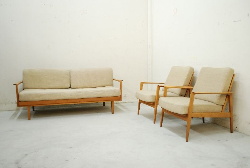 knoll antimott daybed 60er sofa walnut wood schurwolle ebay. Black Bedroom Furniture Sets. Home Design Ideas