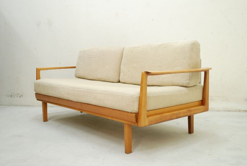knoll antimott daybed 60er sofa walnut wood schurwolle ebay. Black Bedroom Furniture Sets. Home Design Ideas