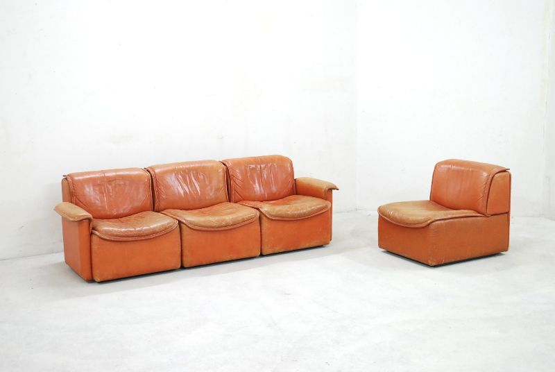 De sede ds 12 sofa vintage modular wohnlandschaft cognac for Sofa 70er stil