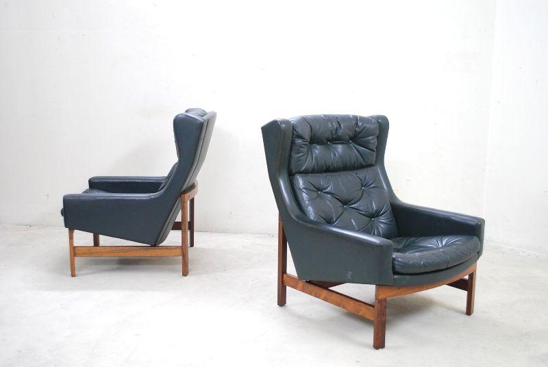 Fine wingback lounge chair sessel 60er danish 1 2 green for Ohrensessel 808