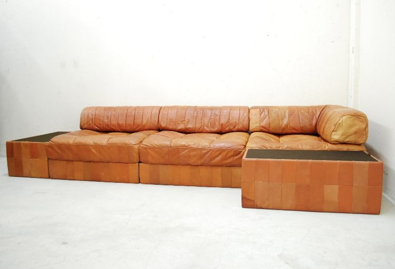 de sede ds 88 sofa daybed vintage cognac patchwork ledersofa 2 sidecases ebay. Black Bedroom Furniture Sets. Home Design Ideas