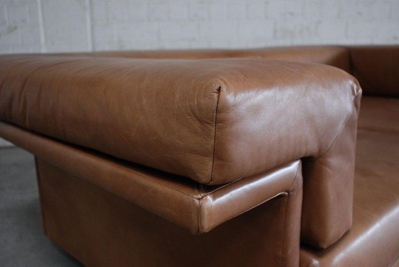 Wk wohnen vintage cognac brown 3er 2er hocker sofa for Sofa 60er gebraucht
