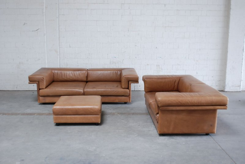 wk wohnen vintage cognac brown 3er 2er hocker sofa ledersofa 70er daybed ebay. Black Bedroom Furniture Sets. Home Design Ideas