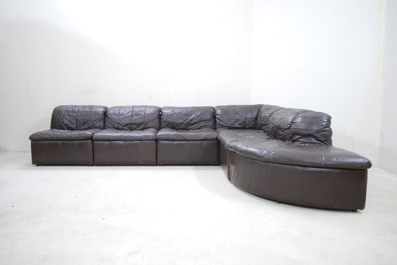 Vintage 70er laauser wohnlandschaft modular sofa ledersofa for Wohnlandschaft retro