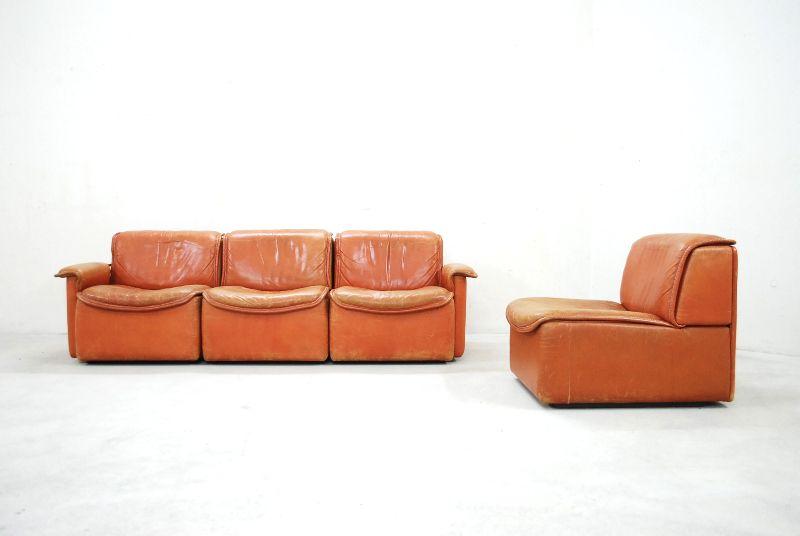 De sede ds 12 sofa vintage modular wohnlandschaft cognac for Wohnlandschaft retro