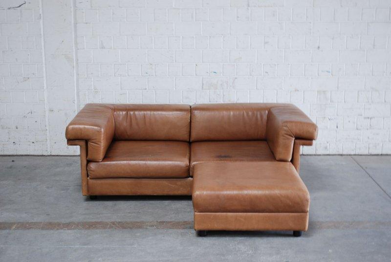 wk wohnen vintage cognac brown 3er 2er hocker sofa ledersofa 70er daybed ebay. Black Bedroom Furniture Sets. Home Design Ideas
