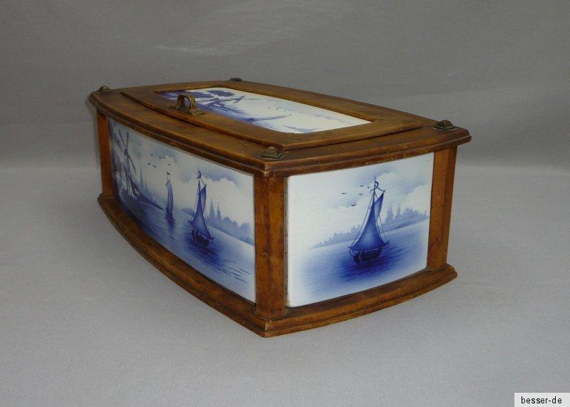 theodor paetsch art deco brotkasten keramik und holz mit holland motiv ebay. Black Bedroom Furniture Sets. Home Design Ideas