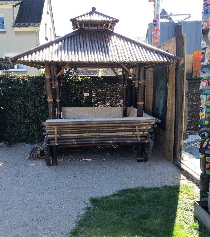 pavillon gazebo bambus schwarz 2 x 2 m wellnessoase mit auflage kissen abverkauf ebay. Black Bedroom Furniture Sets. Home Design Ideas
