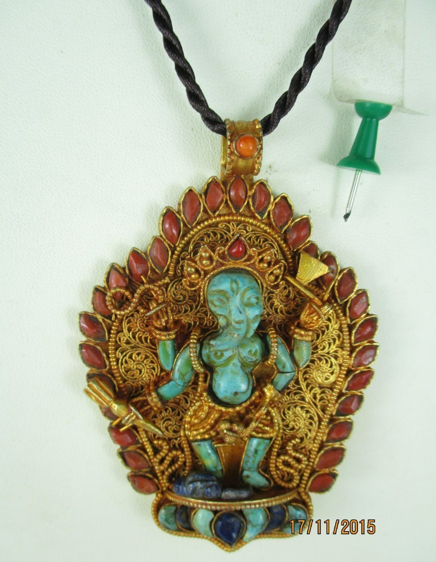 alter ganesha elefant buddha amulett anh nger tibet 1960 lapis koralle t rkis ebay. Black Bedroom Furniture Sets. Home Design Ideas