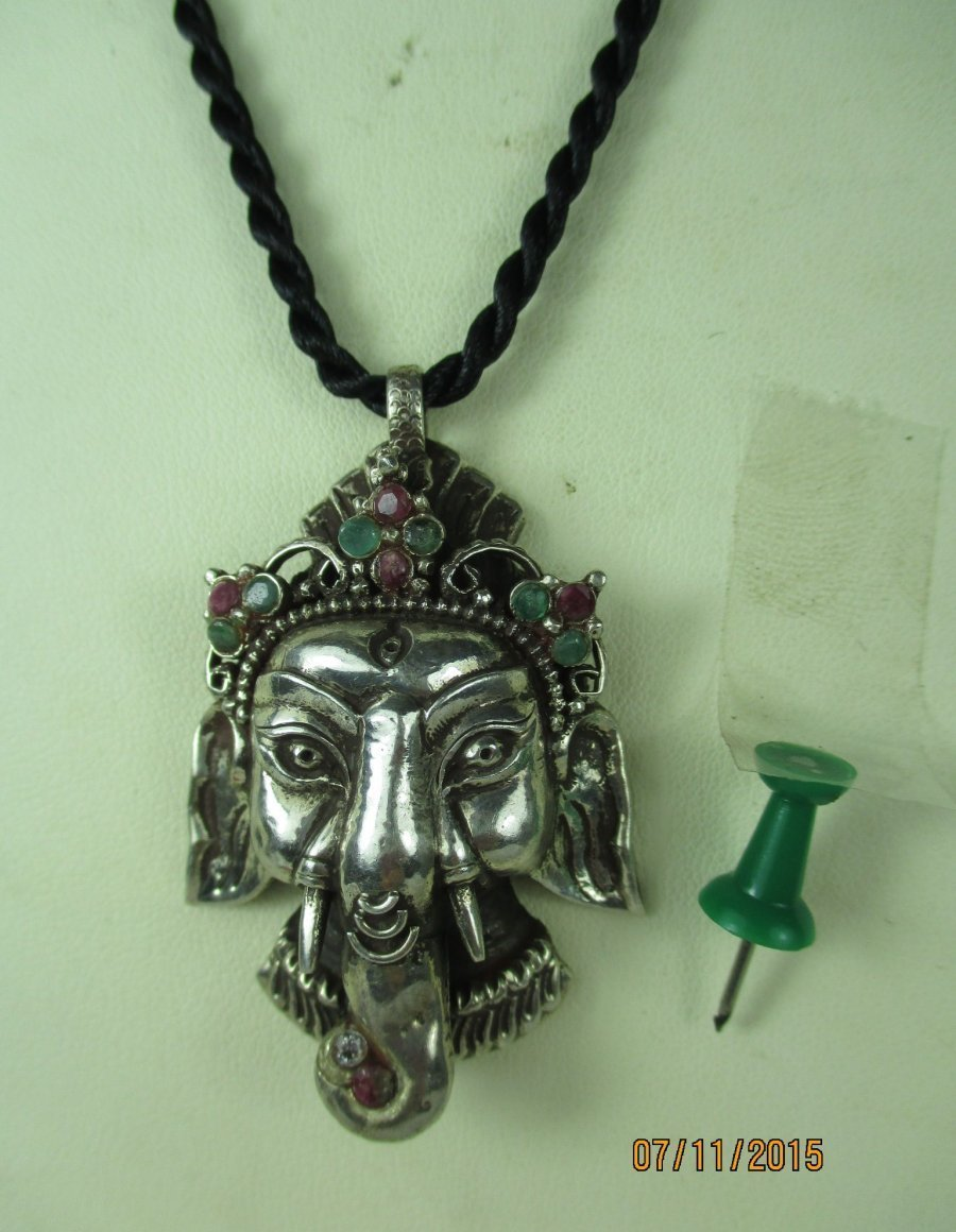 alter ganesha elefant buddha amulett 925 silber rubin smaragd tibet 1960 ebay. Black Bedroom Furniture Sets. Home Design Ideas