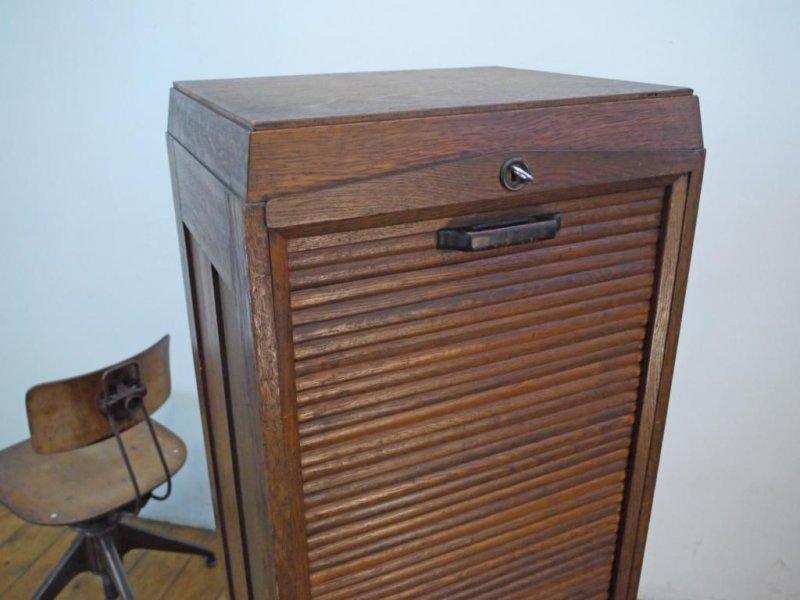Aktenschrank antik  Rollladenschrank Antik Schubladenschrank Holz Alt Büroschrank Loft ...