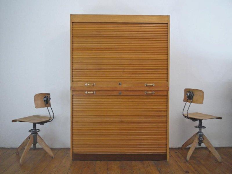 rollladenschrank antik aktenschrank holz jalousieschrank alt b roschrank loft ebay. Black Bedroom Furniture Sets. Home Design Ideas