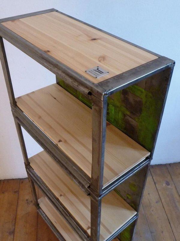regal antik vintage loft bauhaus holz metall werkstattregal fabrik m bel alt ebay. Black Bedroom Furniture Sets. Home Design Ideas