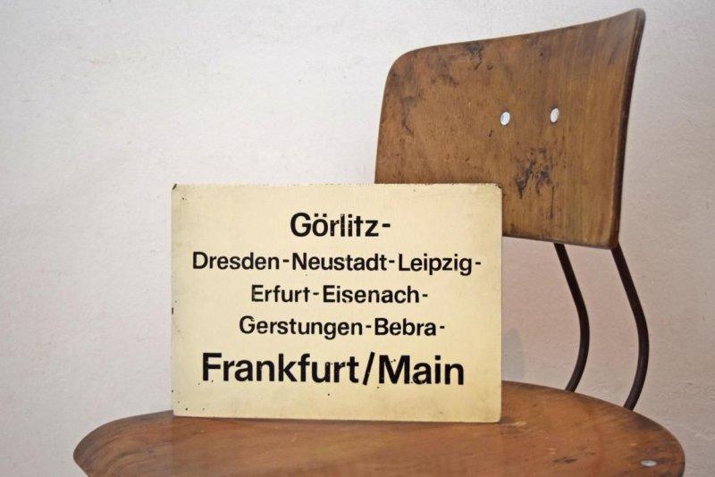 zuglaufschild transit ddr alt antik g rlitz frankfurt main. Black Bedroom Furniture Sets. Home Design Ideas