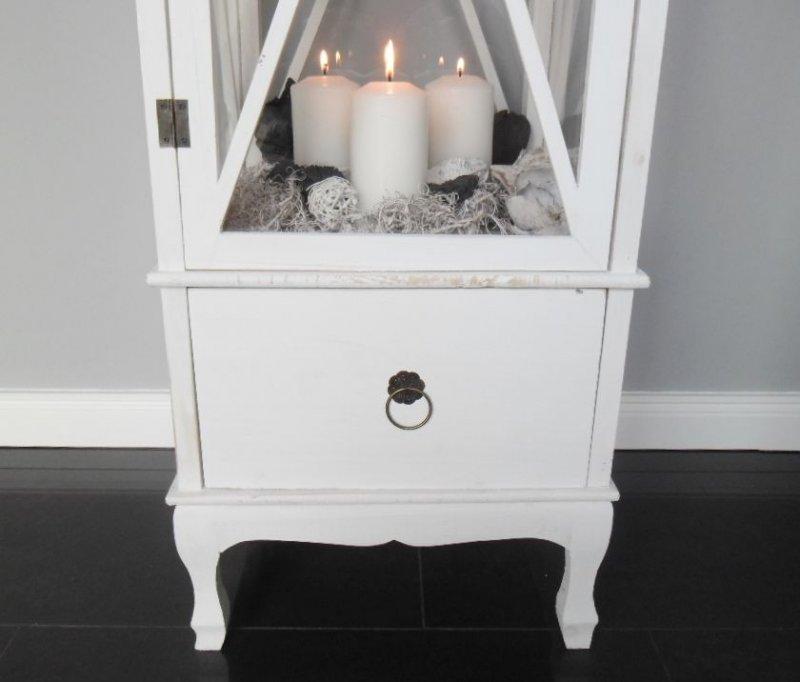 xxl holz laterne mit schublade windlicht metalldach wei 140 cm landhaus ebay. Black Bedroom Furniture Sets. Home Design Ideas