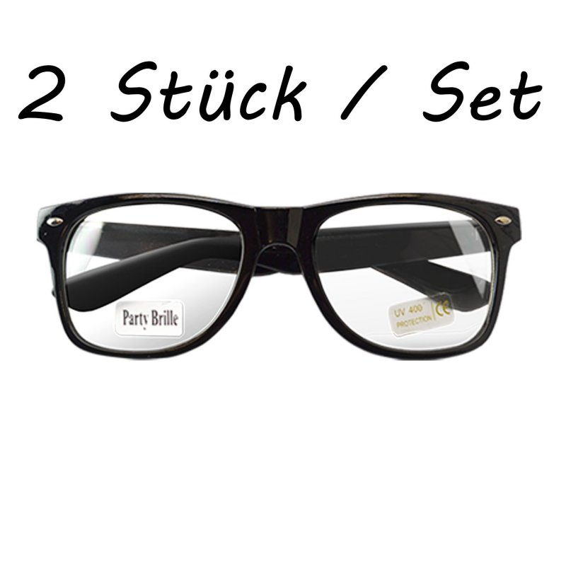 2 st ck nerd brille wayfarer clear streber atzenbrille. Black Bedroom Furniture Sets. Home Design Ideas